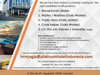 lowongan kerja Platinum Adisucipto hotel