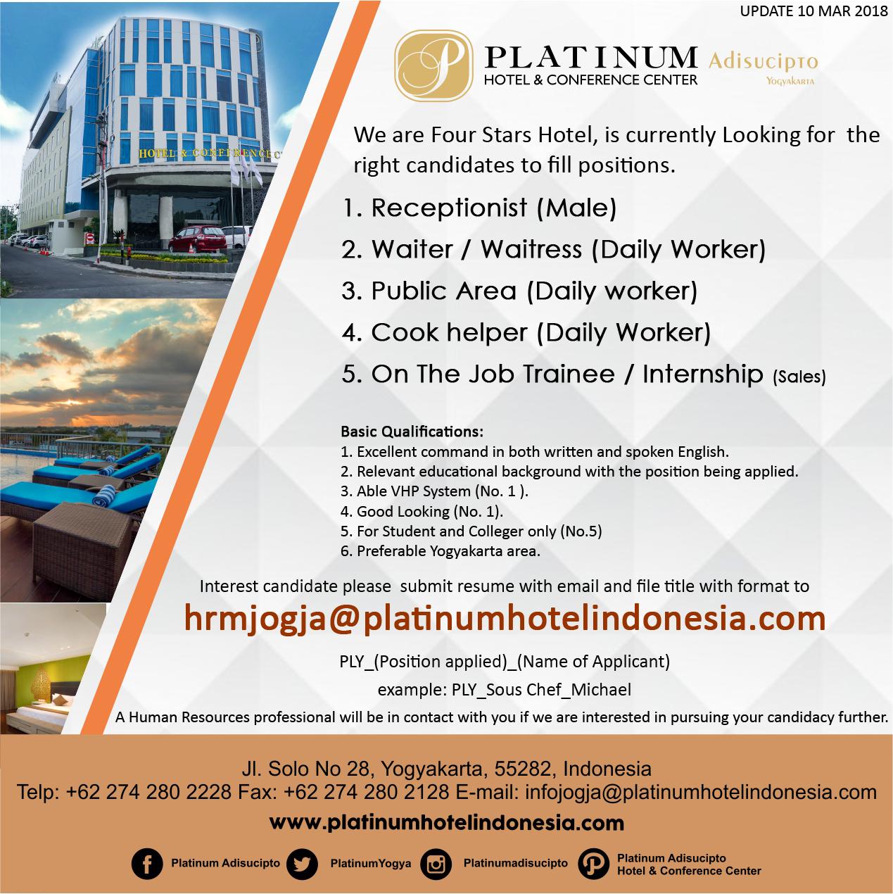 Job Vacancy At Platinum Adisucipto Hotel Yogyakarta